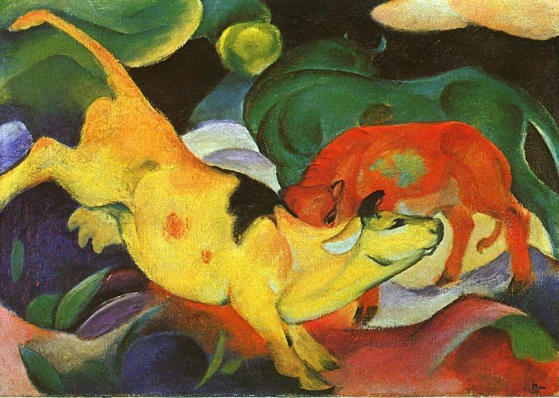 Franz Marc Cows Yellow Red Green