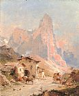 Franz Richard Unterberger Figures in a Village in the Dolomites painting
