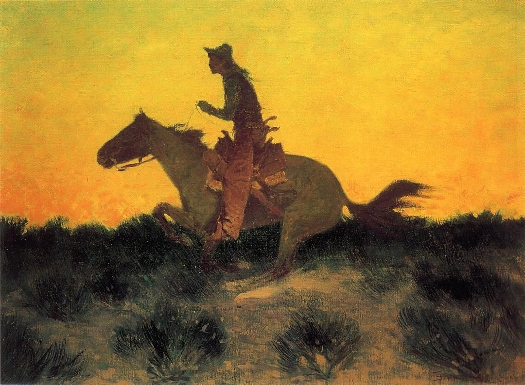 Frederic Remington Against the Sunset