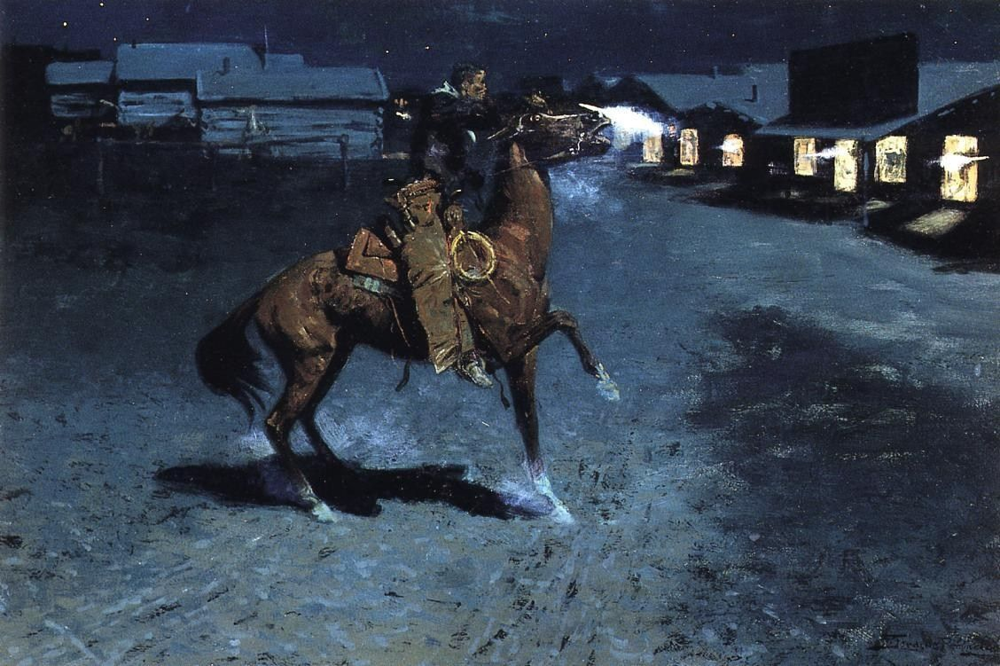 Frederic Remington An Arguement with the Town Marshall