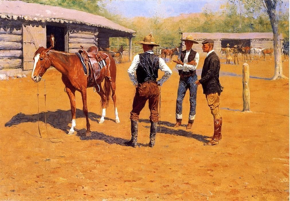 Frederic Remington Buying Polo Ponies in the West