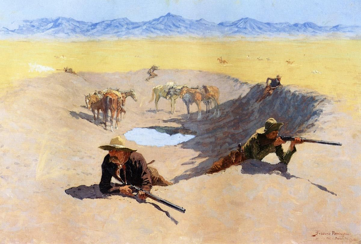 Frederic Remington Fight for the Water Hole