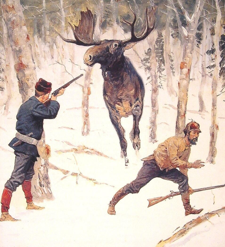 Frederic Remington The Moose Hunt