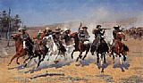 Hunting paintings - A Dash for the Timber by Frederic Remington
