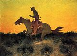 Frederic Remington Against the Sunset painting