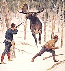 Frederic Remington The Moose Hunt painting