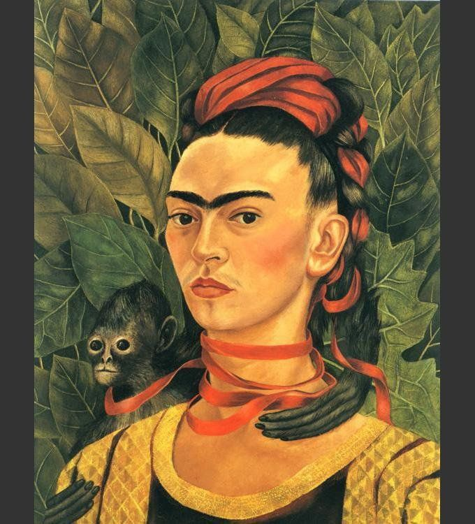 Frida Kahlo Self Portrait with Monkey