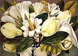 a magnolia on red velvet Paintings - Magnolias