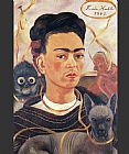 Frida Kahlo Self Portrait with Small Monkey painting