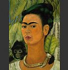 Frida Kahlo daKahlo-Self-Portrait with Monkey 1938 painting