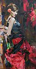 Garmash DANCER IN RED AND BLACK painting