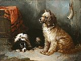 George Armfield A Terrier and a King Charles Spaniel painting