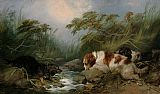 George Armfield Three Dogs by a Brook painting