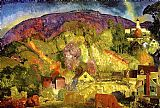 George Bellows The Village on the Hill painting