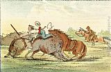 George Catlin Native American Hunting Buffalo on Horseback painting