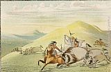George Catlin Native American Sioux Hunting Buffalo on Horseback painting