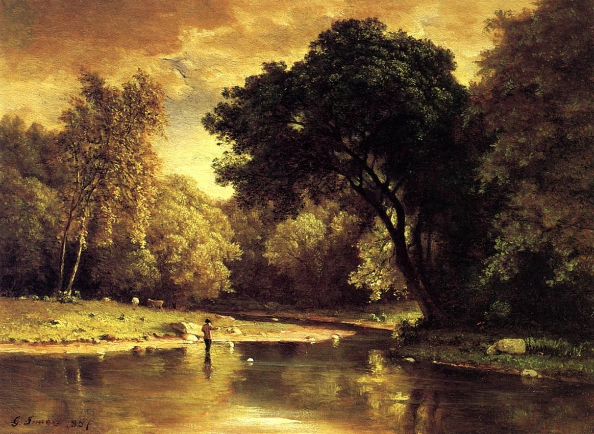 George Inness Fisherman in a Stream