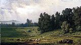 George Inness Landscape with Sheep painting