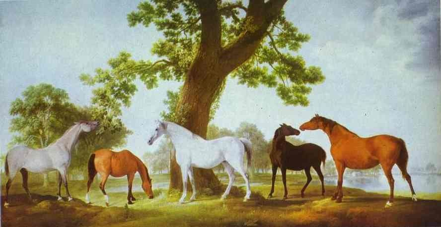 George Stubbs Mares by an Oak-Tree