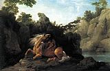a grey horse Canvas Prints - Lion Devouring a Horse