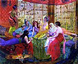 Georges Antoine Rochegrosse harem girls in an aviary ii painting