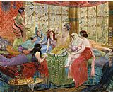 Georges Antoine Rochegrosse harem girls in an aviary painting