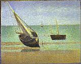 Georges Seurat Boats Bateux maree basse Grandcamp painting