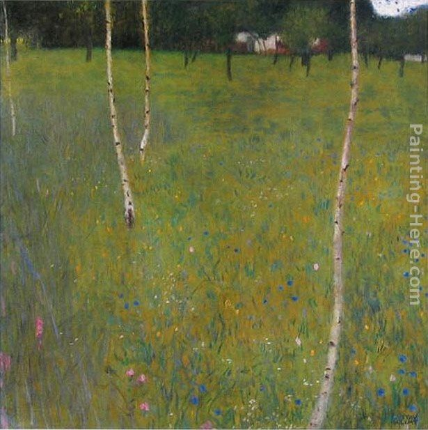 Gustav Klimt Farmhouse with Birch Trees