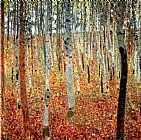 Landscape paintings - Forest of Beech Trees by Gustav Klimt