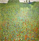 Poppies paintings - Poppy Field by Gustav Klimt