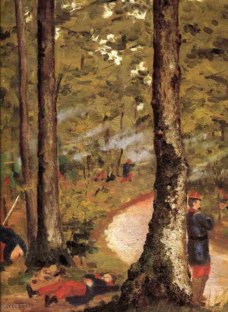 Gustave Caillebotte Yerres, Soldiers in the Woods
