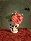 Gustave Caillebotte Garden Rose and Blue Forget-Me-Nots in a Vase painting
