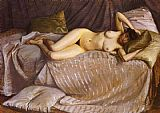 Gustave Caillebotte Naked Woman Lying on a Couch painting