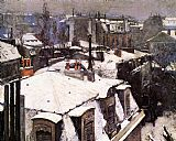 Gustave Caillebotte Rooftops Under Snow painting