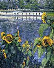 Gustave Caillebotte Sunflowers on the Banks of the Seine painting