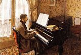 Gustave Caillebotte Young Man Playing the Piano painting