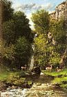 Gustave Courbet A Family of Deer in a Landscape with a Waterfall painting