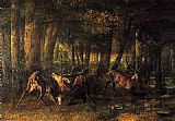 Gustave Courbet Battle of the Stags painting