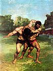 Gustave Courbet The Wrestlers painting