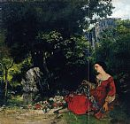 Gustave Courbet Woman with Garland painting