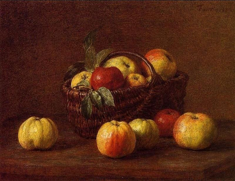 Henri Fantin-Latour Apples in a Basket on a Table