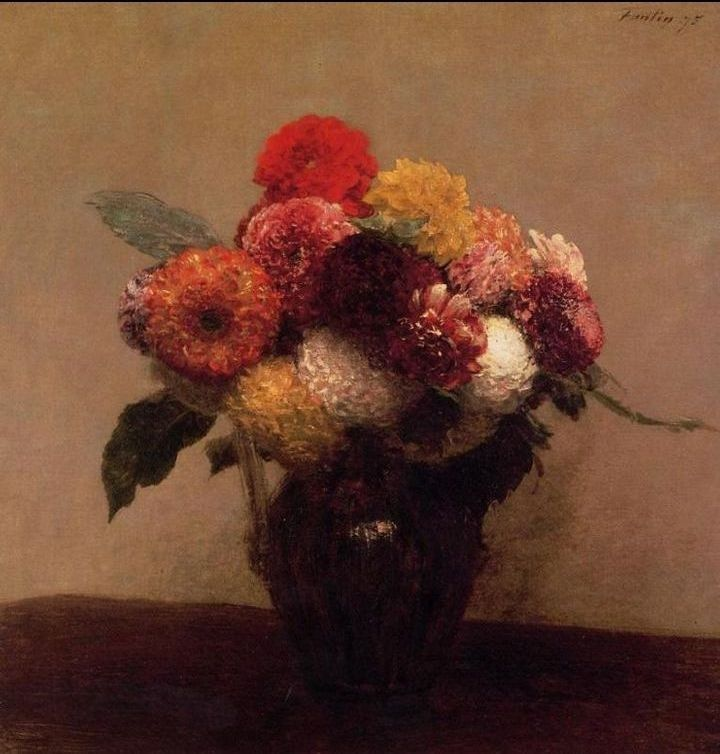 Henri Fantin-Latour Dahlias, Queens Daisies, Roses and Corn Flowers I