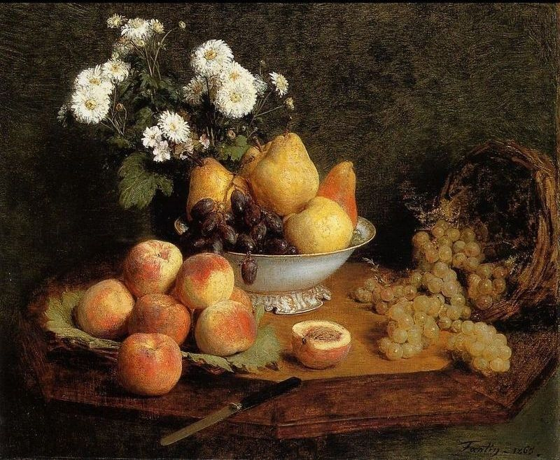 Henri Fantin-Latour Flowers and Fruit on a Table