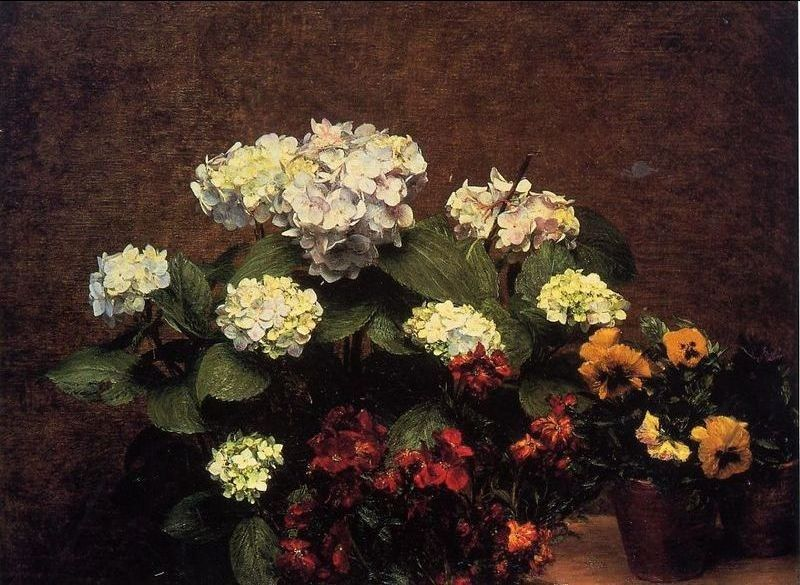 Henri Fantin-Latour Hydrangias Cloves and Two Pots of Pansies