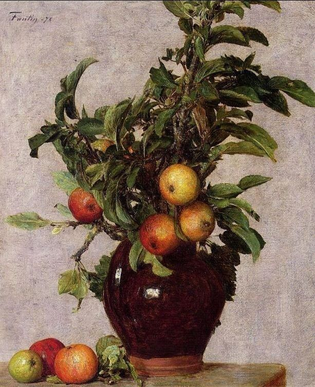 Henri Fantin-Latour Vase with Apples and Foliage