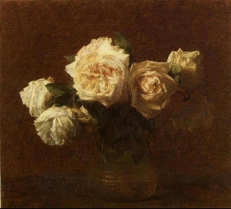 Henri Fantin-Latour Yellow Pink Roses in a Glass Vase