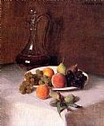 Henri Fantin-Latour A Carafe of Wine and Plate of Fruit on a White Tablecloth painting