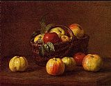 Henri Fantin-Latour Apples in a Basket on a Table painting