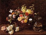 Henri Fantin-Latour Basket of Flowers painting