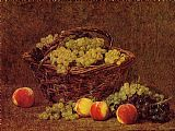 Henri Fantin-Latour Basket of White Grapes and Peaches painting